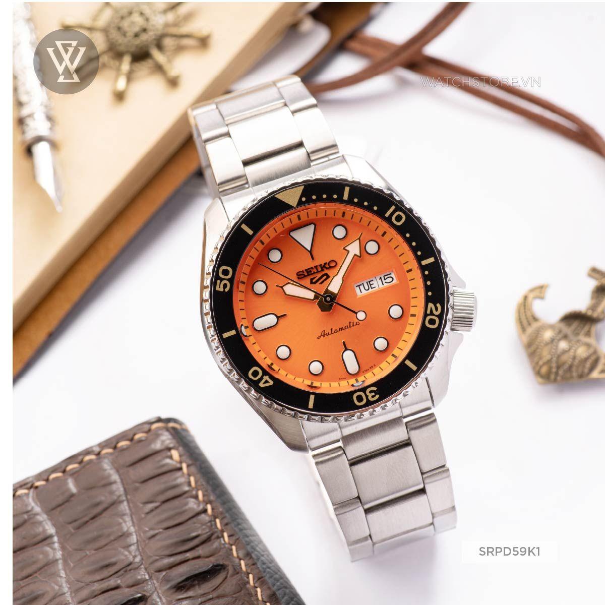 seiko srpd59k1, đồng hồ seiko chính hãng, đồng hồ nam, máy cơ automatic, hardlex crystal, dây kim loại, chống nước 10atm, sku/upc/mpn: 4954628232144 - Ảnh 1